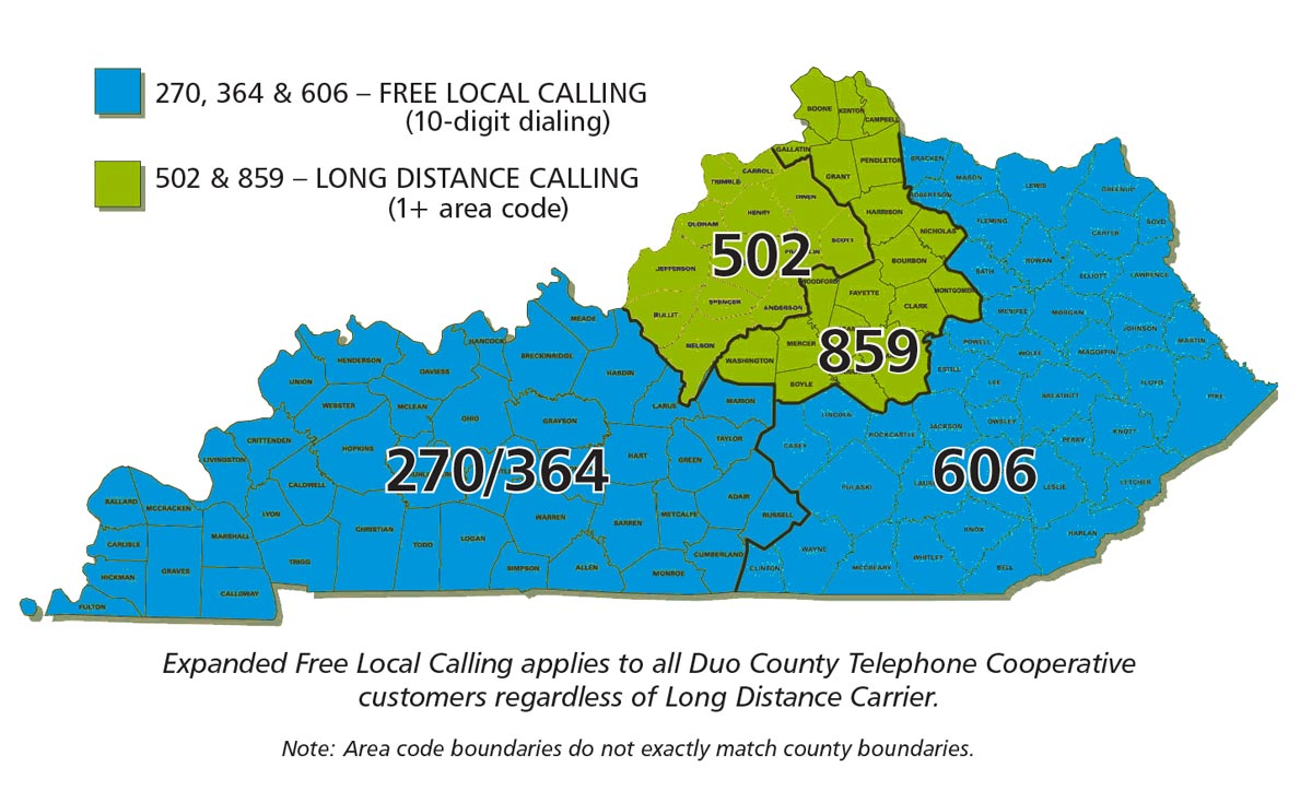 expanded local calling area map